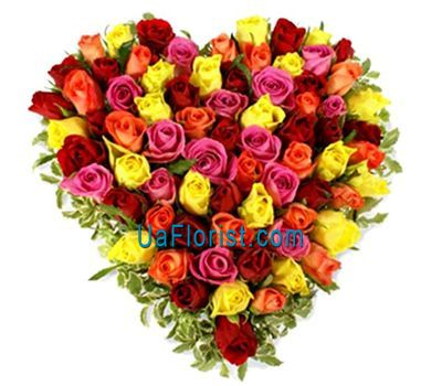 """Heart of 73 multicolored roses"" in the online flower shop uaflorist.com"