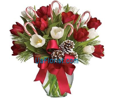 """Tulips for the New Year with branches ate"" in the online flower shop uaflorist.com"