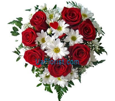 """Heart:7 roses and 4 chrysanthemums"" in the online flower shop uaflorist.com"