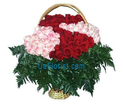 """Basket of flowers from 101 roses"" in the online flower shop uaflorist.com"