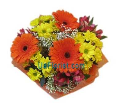 """Bouquet of 3 gerberas, 3 alstroemerias and 3 chrysanthemums"" in the online flower shop uaflorist.com"