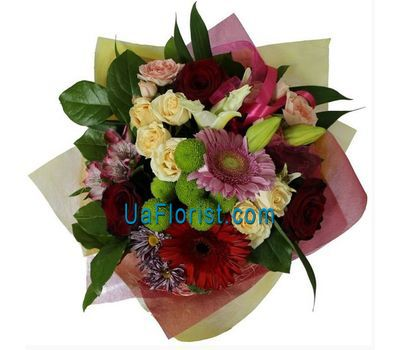 """Bouquet of 5 roses, 2 gerberas, 1 lily, 1 alstroemeria and 2 chrysanthemums"" in the online flower shop uaflorist.com"