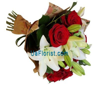 """Bouquet of 7 roses and 2 lilies"" in the online flower shop uaflorist.com"