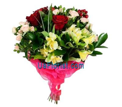 """Bouquet of 7 roses and 4 alstroemerias"" in the online flower shop uaflorist.com"