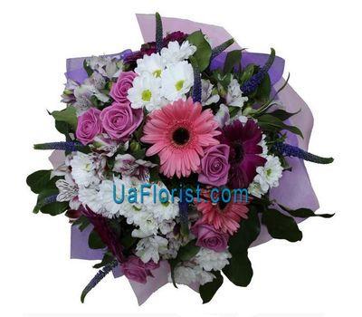"""Bouquet of 7 roses, 5 gerberas, 6 alstroemerias and 5 chrysanthemums"" in the online flower shop uaflorist.com"