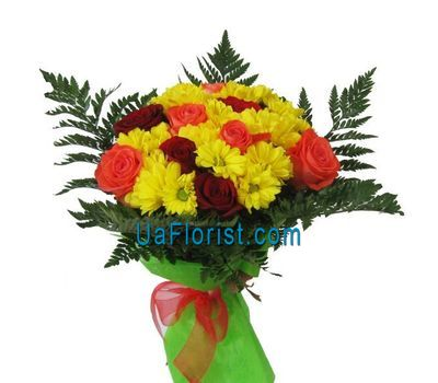 """""""Bouquet of 9 roses and 5 chrysanthemums"""" in the online flower shop uaflorist.com"""