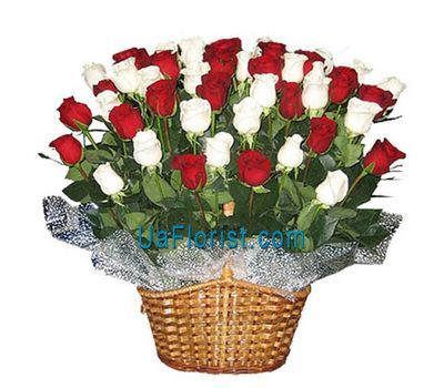 """Basket of flowers from 45 import roses"" in the online flower shop uaflorist.com"