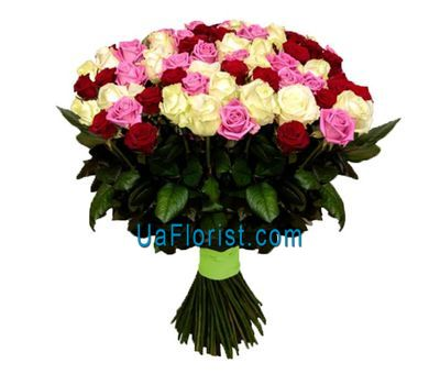 """75 multicolored roses"" in the online flower shop uaflorist.com"