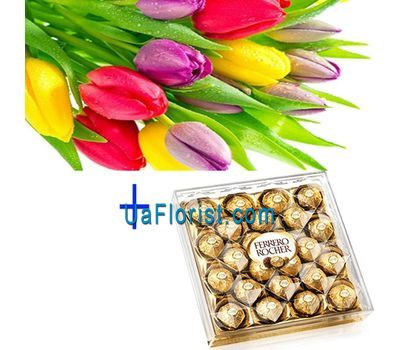 """""""15 tulips and candy"""" in the online flower shop uaflorist.com"""