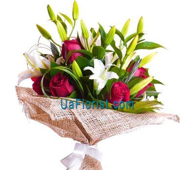 """A bunch of flowers of 3 lilies and 6 roses"" in the online flower shop uaflorist.com"