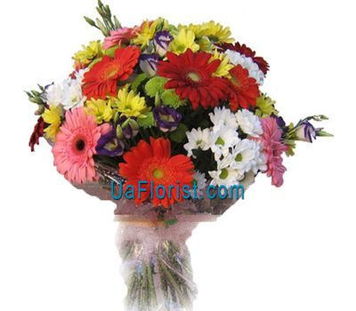 """Bouquet of flowers from 10 gerberas and 11 chrysanthemums"" in the online flower shop uaflorist.com"