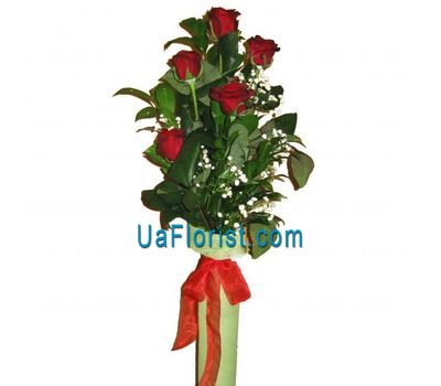 """Bouquet of 5 red roses"" in the online flower shop uaflorist.com"